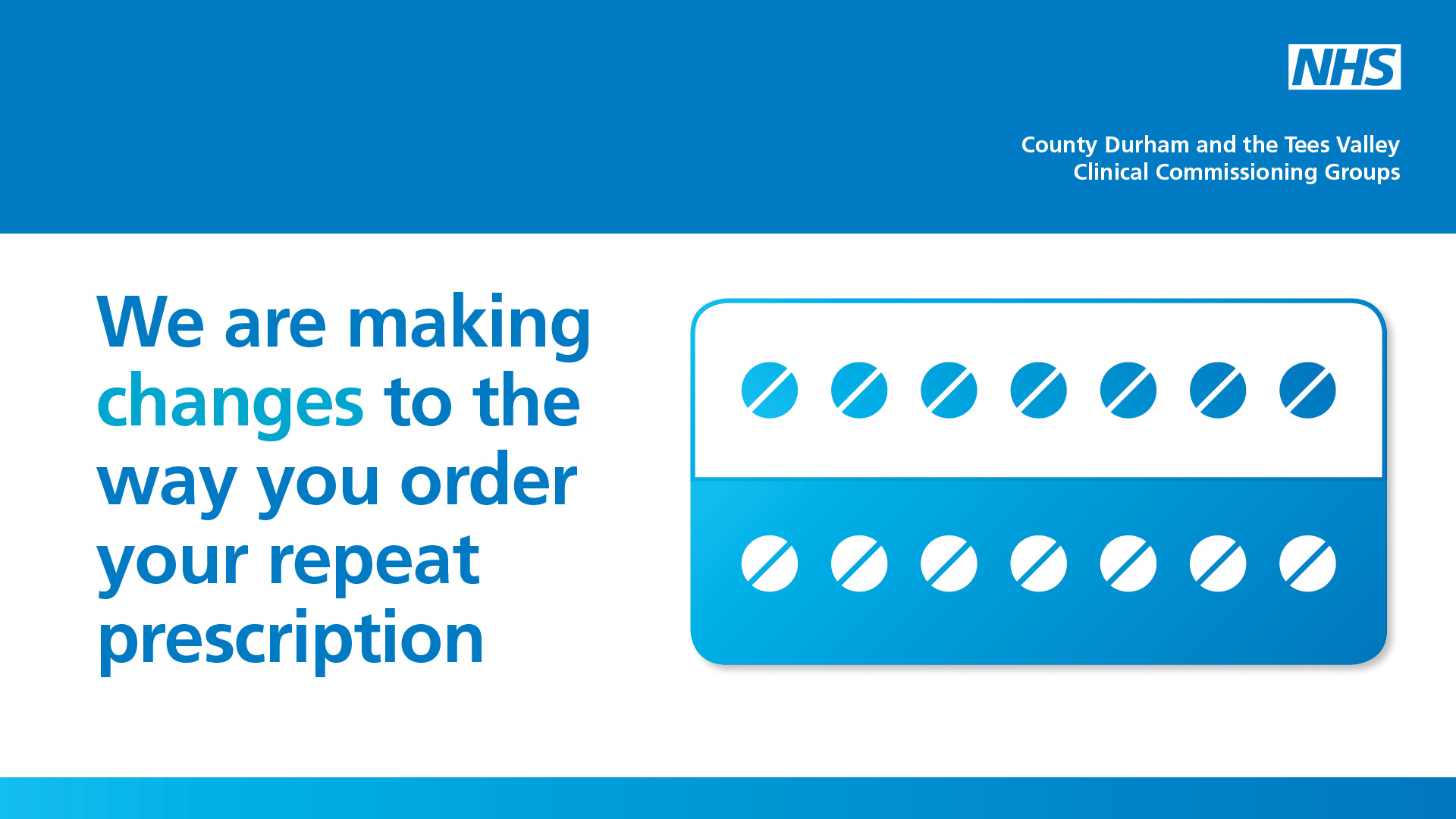 We are making changes to the way you order your repeat prescription